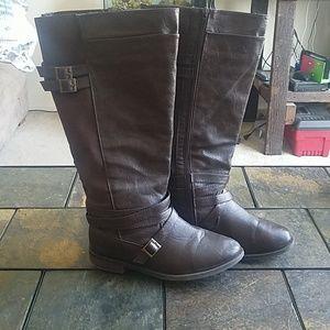 Torrid Brown Knee High Buckle Detail Boots 8W